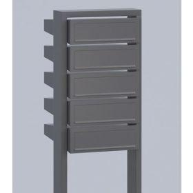 Casuta postala cu suport pentru bloc si apartament cu 5 cutii postale individuale Pansy IOS 4